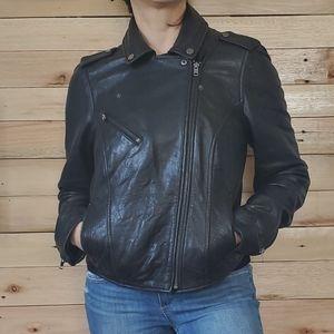 Black Rivet leather Zip up Moto Jacket